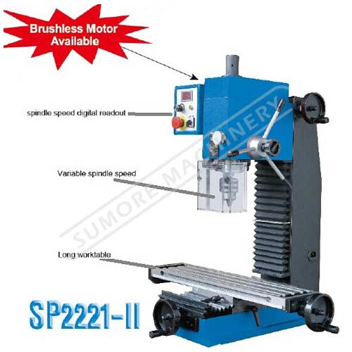 Variable spindle speed mini milling and drilling machine SP2221-II